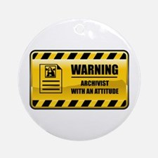 Warning Archivist Ornament (Round)