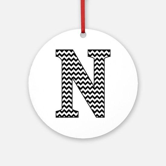 Black and White Chevron Letter N Mo Round Ornament