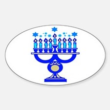 Blue Menorah Oval Decal
