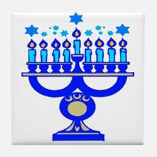 Blue Menorah  Tile Coaster