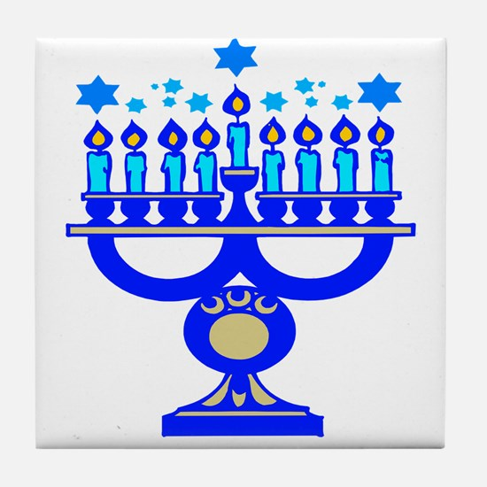 Blue Menorah  Tile Coaster