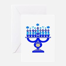 Blue Menorah Greeting Card