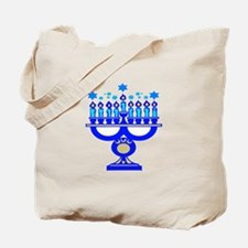 Blue Menorah  Tote Bag