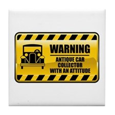 Warning Antique Car Collector Tile Coaster
