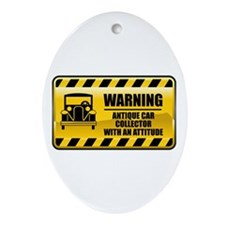 Warning Antique Car Collector Oval Ornament