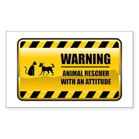 Warning Animal Rescuer Rectangle Sticker