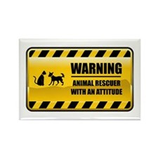Warning Animal Rescuer Rectangle Magnet (10 pack)