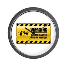 Warning Animal Rescuer Wall Clock