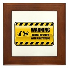 Warning Animal Rescuer Framed Tile