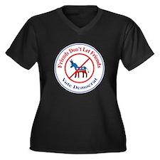 Anti-Democrat Women's Plus Size V-Neck Dark T-Shir