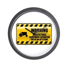 Warning Agricultural Equipment Operator Wall Clock