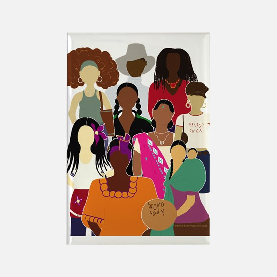 Brown Lady Collage Rectangle Magnet