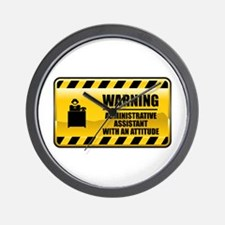 Warning Administrative Assistant Wall Clock