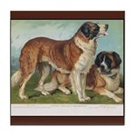 Antique St Bernard Tile Coaster