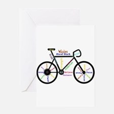 Bike made up of words to motivate Greeting Cards