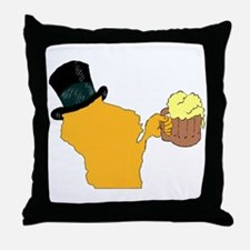 Wisconsin Beer & Top Hat- Packers col Throw Pillow