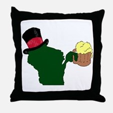 Wisconsin Beer & Top Hat- Bucks color Throw Pillow
