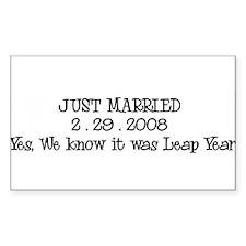 JUST MARRIED 2 . 29 . 2008 Sticker (Rectangular