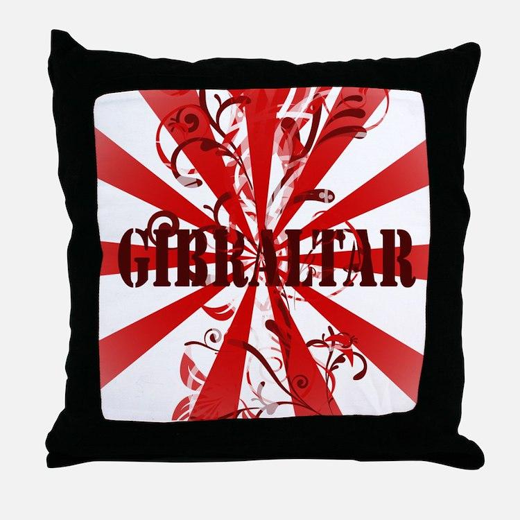 Red vintage Gibraltar Throw Pillow