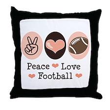 Pink Brown Peace Love Football Throw Pillow
