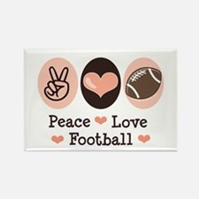 Pink Brown Peace Love Football Rectangle Magnet
