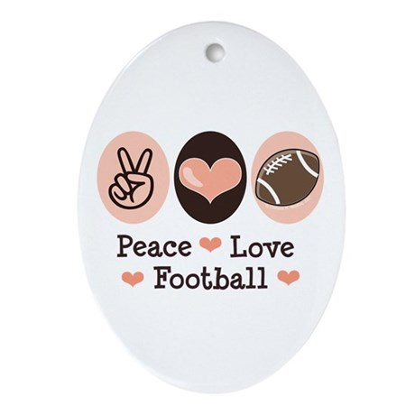 Pink Brown Peace Love Football Oval Ornament
