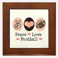 Pink Brown Peace Love Football Framed Tile