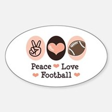 Pink Brown Peace Love Football Oval Decal