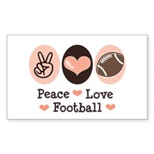 Pink Brown Peace Love Football Sticker (Rectangula