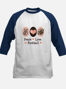 Pink Brown Peace Love Football Tee