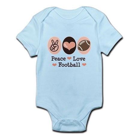 Pink Brown Peace Love Football Infant Bodysuit