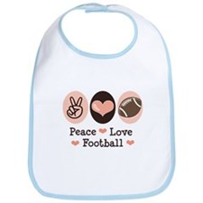 Pink Brown Peace Love Football Bib