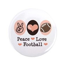 """Pink Brown Peace Love Football 3.5"""" Button"""