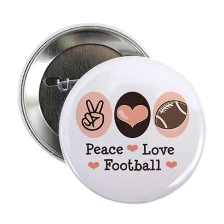 """Pink Brown Peace Love Football 2.25"""" Button"""