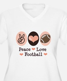Pink Brown Peace Love Football T-Shirt