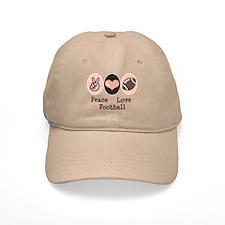 Pink Brown Peace Love Football Baseball Cap