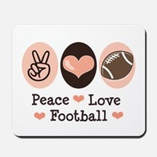 Pink Brown Peace Love Football Mousepad