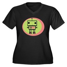 Robot Women's Plus Size V-Neck Dark T-Shirt