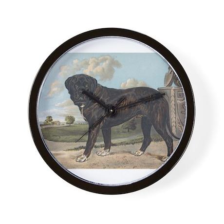 Antique Mastiff Dog Portrait Wall Clock