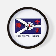 Fort Wayne IN Flag Wall Clock