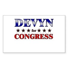 DEVYN for congress Rectangle Decal