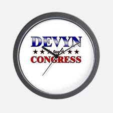 DEVYN for congress Wall Clock