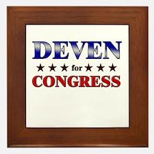 DEVEN for congress Framed Tile