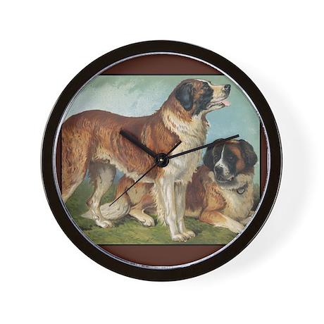 Antique St Bernard Rough Dog Wall Clock