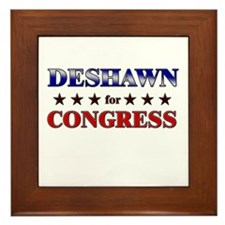DESHAWN for congress Framed Tile