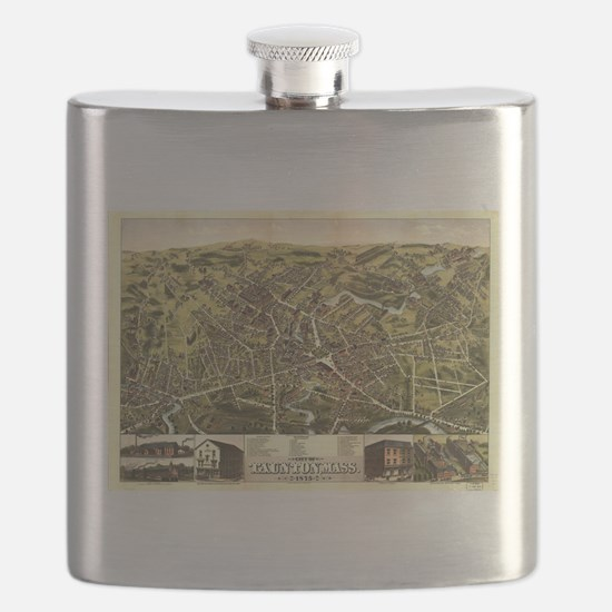Vintage Pictorial Map of Taunton MA (1875) Flask
