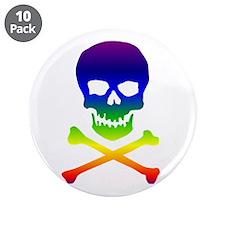 """Rainbow Skull 3.5"""" Button (10 pack)"""