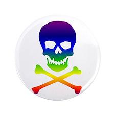 """Rainbow Skull 3.5"""" Button"""