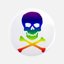 "Rainbow Skull 3.5"" Button"