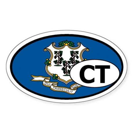 Connecticut State Flag Oval Sticker